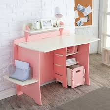 pink and white compact computer desk with storage plus cpu stand for kid girls a