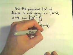finding the formula for a polynomial given zeros roots degree and one point example 1 you