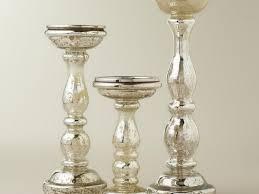 3 mercury glass pillar candle holders