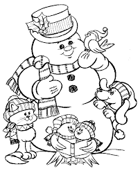 Small Picture Snowman coloring pages with animals ColoringStar