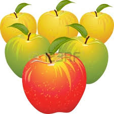 green and red apples in basket. apple basket clipart set of red yellow green ripe juicy and apples in t