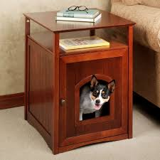 sa accent table pet house natural cherry