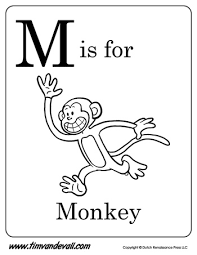 Small Picture M is for Monkey Letter M Coloring Page Alphabet Book Black