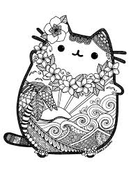 Hawaiian Pusheen Fan Art Pusheen Cat Coloring Page Cute