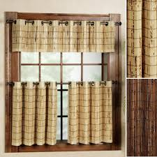 Kitchen Window Curtain Panels Decorating Ivory Bamboo Curtain Panels With Valance For Kitchen