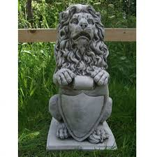 stone garden ornaments shield lion garden ornament cast stone garden ornaments by onefold lion garden ornament