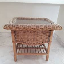 square rattan glass top coffee table