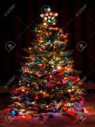 Snow Covered Christmas Tree with Multi Colored Lights Stock Photo - 33176812
