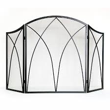 style selections 47 87 in black powder coated steel 3 panel arched fireplace screen