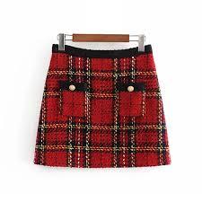 Red <b>vintage women</b> tweed mini skirts <b>2019 winter</b> fashion ladies ...