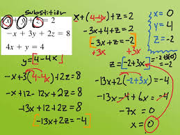 alg2 system of eqs with three variables sub math algebra 2 solving systems of linear equations in three variables substitution showme
