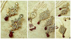 sets pendant necklace kundan polki earrings