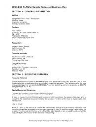 Business Plan Examples Resume Sections For Small Pizza Sample