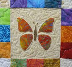 Scrappy Butterfly Baby Quilt Tutorial • Freemotion by the River & Closeup of appliqued butterfly baby quilt Adamdwight.com
