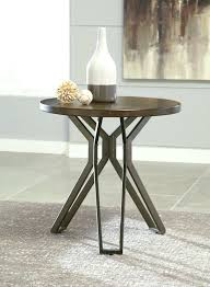 brown black round end table tablecloth with gold runner