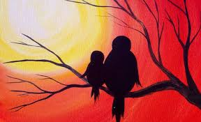simple easy painting images easy acrylic painting simple mama bird sunset the art sherpa