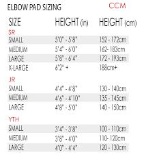 Ccm Goalie Pad Sizing Chart Ccm U 12 Elbow Pads Sr