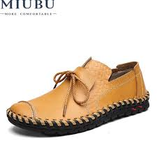 miubu designer sneakers men genuine leather shoes slip on moccasins loafers casual summer