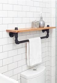 bathroom accessories. Wonderful Industrial Bathroom Accessories Towel Rack Shelf, Rustic Accessory Black Iron Pipe, Wall Hanging,