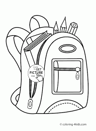 Backpack With School Supplies Coloring Page