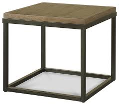 french industrial oak wood and metal square end table transitional side tables and end tables by zin home