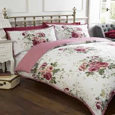 masie king bed size dusky pink green white fl roses frilled border vintage duvet cover quilt bedding set hallways c3 a2 c2 ae