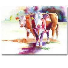cattle watercolor painting artist abstract animal cow printed oil pop art for living ideas