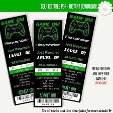 Invitation Ticket Template Delectable Gaming Ticket Invitation Printable Tickets Template Game On Etsy