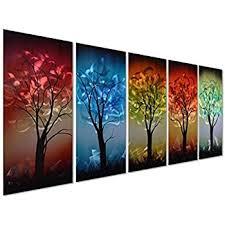 Pure Art From Dusk til Dawn Multi-Colored Tree Metal Wall Art, 3D Wall