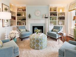 Living Room Blue And Brown Living Room White Shelves Brown Chairs Gray Sofa Gray Recliners