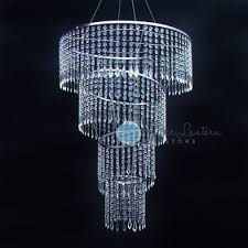 blowout designer crystal stainless steel chandelier 24 x 45 inch long round 4 tier