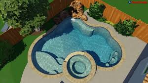 pool designs with swim up bar. 3D Pool Design - Custom Kidney With Waterfall, Swim Up Bar \u0026 Hot Designs O