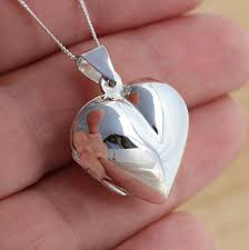 details about 925 sterling silver large plain puffed heart locket pendant photo jewellery