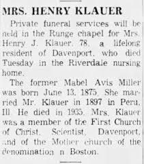 Obituary - Mabel Avis Miller Klauer - Newspapers.com