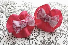 Детский бантик <b>Анетт розовый</b> с бабочками