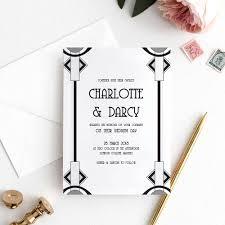 Art Deco Wedding Invitation Gatsby Invitation Template 5x7