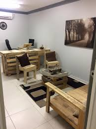 pallet office. Computer Desk, Sitting Area With Chairs And Sofa - Pallet Office Furniture  #DIY | Pallet Office W