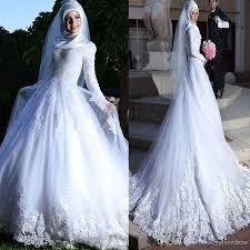 Discount Long Sleeve Muslim Hijab Wedding Dress Lace Up Back Lace ...
