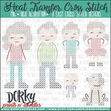 Dork Designs Family Cross Stitch Heat Transfer Design Heat Transfer And