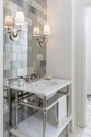 bathrooms mirrored subway tiles design