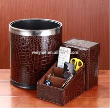 factory whole luxury office faux leather desk sets desk organizer tissue box trash