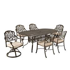 home styles fl blossom taupe 7 piece patio dining set with beige cushions