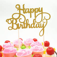 Buy Gold Happy Birthday Cake Toppers Online In Best Prices In