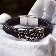 bracelets handmade livemaster handmade biker leather bracelet from the engine and from