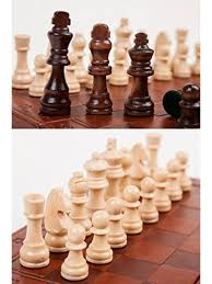 ... Agirlgle Wooden Chess Set For Adults With Folding Leather Chess Board  With Storage And Handmade Wood