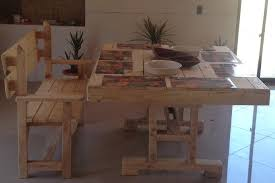 diy recycling wood pallet dining table set with bench chair for natural accent interior