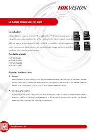 C1 Series <b>Micro SD</b> (<b>TF</b>) Card