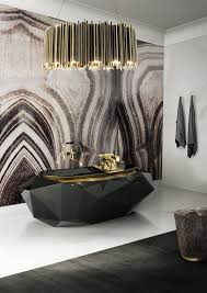 f extraordinary small bathroom ideas with lovely pendant lighting over freestanding glossy black acrylic bathtub and cool wallpaper design 723x1024 awesome bathroom lighting bathroom pendant lighting