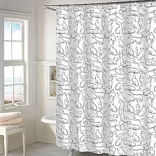 Cats Shower Curtain in White Bed Bath & Beyond