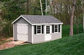 12 x 16 classic cape storage shed ellington ct 6 double door with arched trim duratemp t1 11 siding color light gray